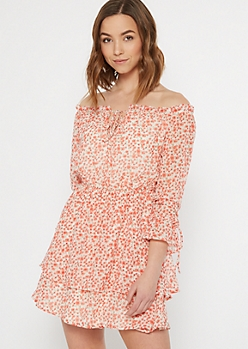 Red Floral Print Off The Shoulder Ruffle Dress