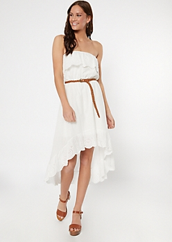 White Crochet Flounce High Low Dress