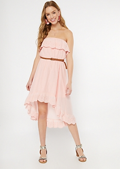 Pink Crochet Flounce High Low Dress