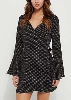 Black Polka Dot Pattern Trumpet Sleeve Wrap Dress