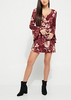 Burgundy Surplice Floral Wrap Dress