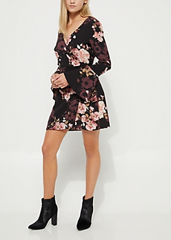 Coral Surplice Floral Wrap Dress
