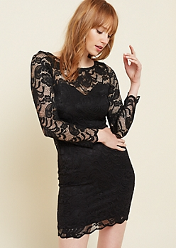 Black Lace Sweetheart Liner Bodycon Dress