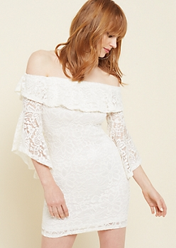 Ivory Off Shoulder Trumpet Sleeve Lace Dress