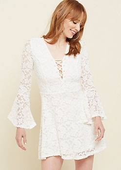Ivory Lace Trumpet Sleeve Skater Dress