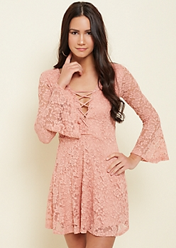 Pink Lace Trumpet Sleeve Skater Dress