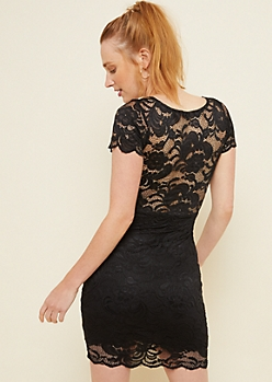 Black Lace Sweetheart Mock Neck Bodycon Dress