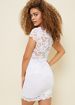 White Lace Sweetheart Mock Neck Bodycon Dress