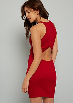 Red Open Back Ribbed Knit Bodycon Dress