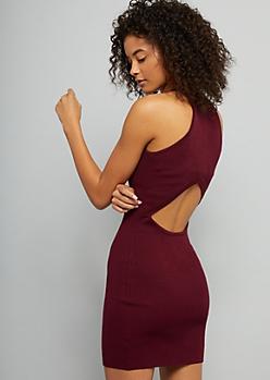 Burgundy Open Back Ribbed Knit Bodycon Dress