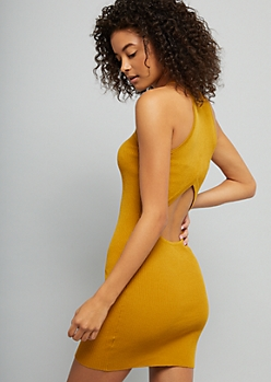 Mustard Open Back Ribbed Knit Bodycon Dress