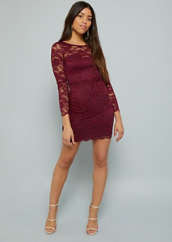 Purple Scalloped Lace Long Sleeve Bodycon Dress