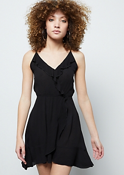 Black Surplice Flounce Mini Dress