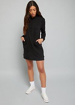 Black Pullover Hooded Sweatshirt Mini Dress