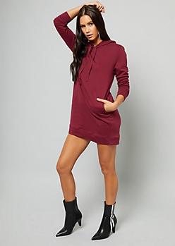 Burgundy Pullover Hooded Sweatshirt Mini Dress