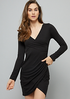 Black Long Sleeve Wrap Mini Dress
