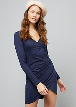 Navy Long Sleeve Ruched Wrap Mini Dress