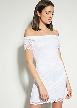 White Lace Off The Shoulder Bodycon Dress