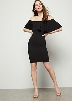 Black Flounce Off The Shoulder Mini Bodycon Dress