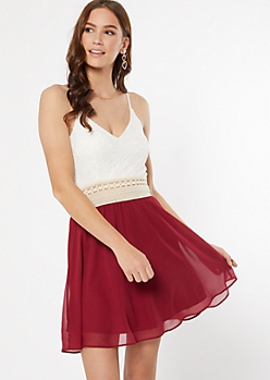 Burgundy Lace Crochet Dress