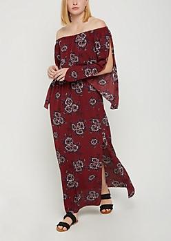 Burgundy Floral Off Shoulder Split Sleeve Dress