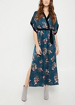 Teal Floral Velvet Trimmed Maxi Dress