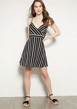 Black Striped Crisscross Strap Open Back Mini Dress