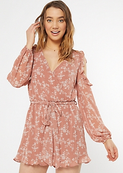 Dusty Pink Floral Print Cold Shoulder Ruffle Romper