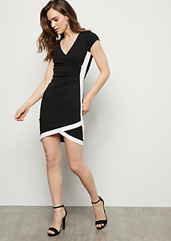 Black Side Striped Surplice Tulip Crepe Mini Dress