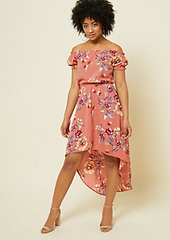 Pink Floral Print Off Shoulder Puff Sleeve High Low Dress
