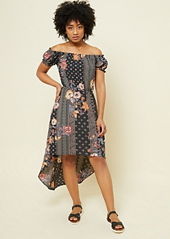 Black Floral Paisley Print Off Shoulder Puff Sleeve High Low Dress