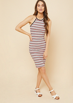 Red Striped High Neck Ribbed Knit Dress