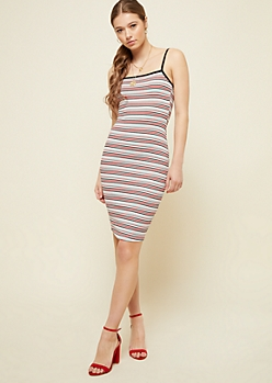 Red Striped Straight Neck Ribbed Knit Dress