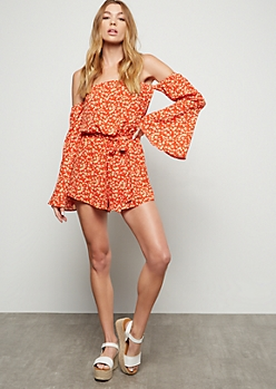 Red Floral Print Bell Sleeve Romper