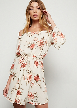 Ivory Floral Print Off The Shoulder Bell Dress