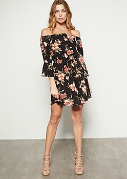 Black Floral Print Off The Shoulder Bell Dress