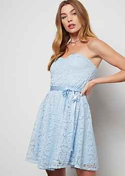 Light Blue Sweetheart Neck Lace Mini Dress
