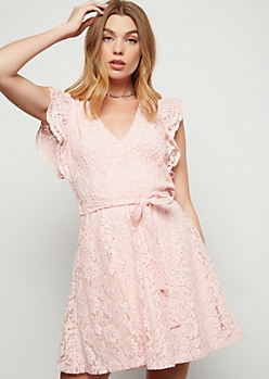 Pink Deep V Neck Fluttery Lace Mini Dress