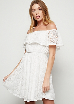 White Ruffled Off The Shoulder Lace Mini Dress