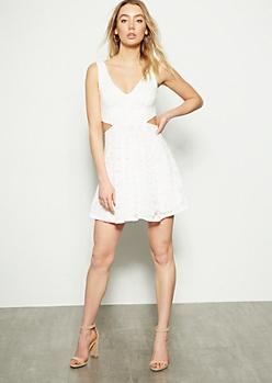 Ivory Lace Cutout Sleeveless Dress
