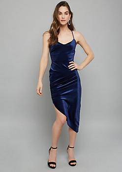 Navy Velvet Side Ruched Asymmetrical Midi Dress