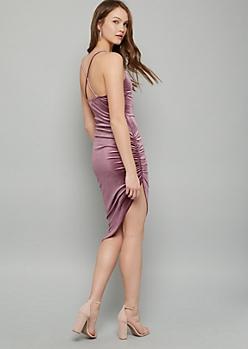 Purple Velvet Side Ruched Asymmetrical Midi Dress