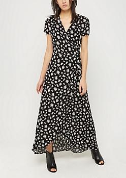 Black Rose Surplice Wrap Maxi Dress
