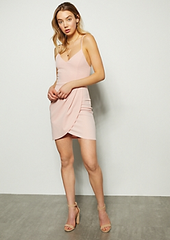 Pink Sleeveless Tulip Hem Bodycon Dress