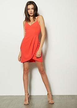 2447782e4156 Coral Sleeveless Tulip Hem Bodycon Dress