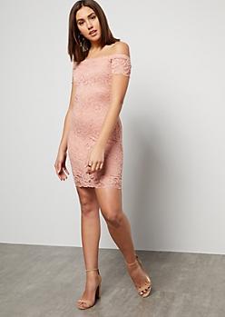 3a9d3ffad3a26d Pink Floral Lace Off The Shoulder Mini Dress