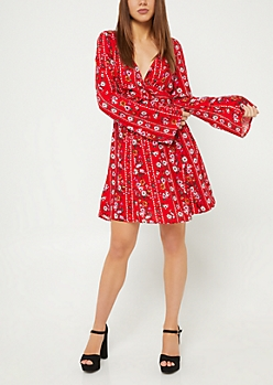 Red Floral Print Knotted Front Skater Dress