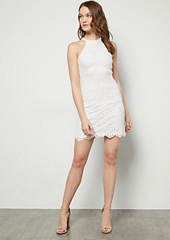 Ivory Floral Crochet High Neck Dress
