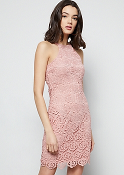 Pink Floral Crochet High Neck Dress