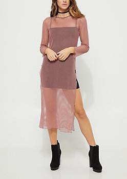 Pink Mesh Maxi Dress
